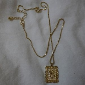Urban Outfitters Gold Square Rose Necklace